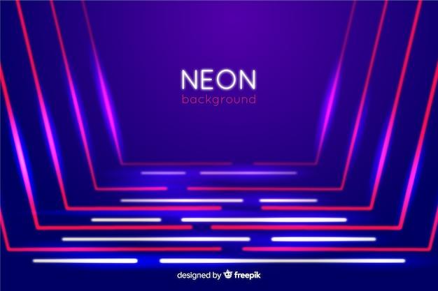 Neonlicht in lijnvorm op het podium Gratis Vector