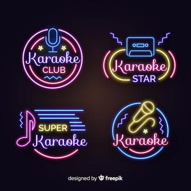 Neonlicht karaoke-tekencollectie Gratis Vector