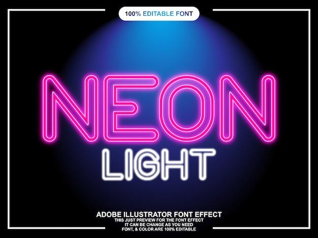 Neonlicht lettertype-effect Premium Vector