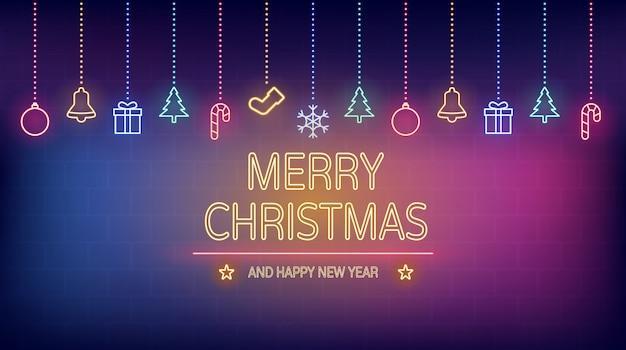 Neonlicht van prettige kerstdagen en gelukkig nieuwjaar op bakstenen muur Premium Vector