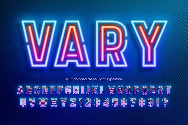 Neonlichtalfabet, extra gloeiend lettertype Premium Vector