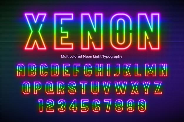 Neonlichtalfabet, veelkleurig extra gloeiend lettertype Premium Vector