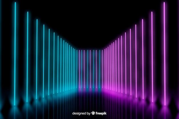 Neonlichten op stadium gerichte achtergrond Gratis Vector