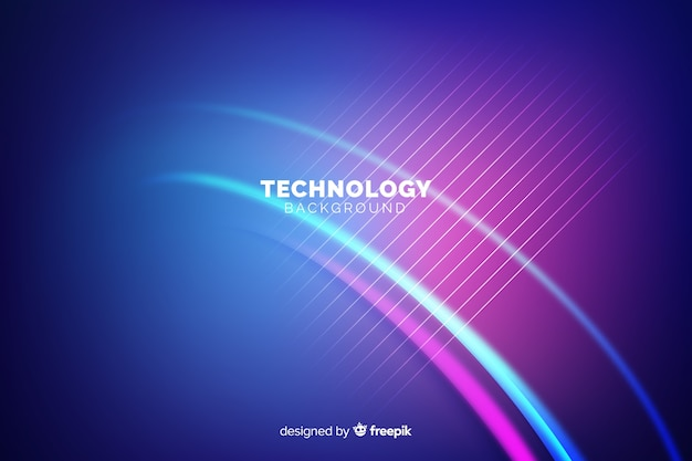 Neonlichten technologie achtergrond Gratis Vector