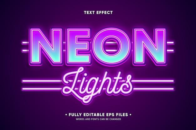 Neonlichten teksteffect Gratis Vector