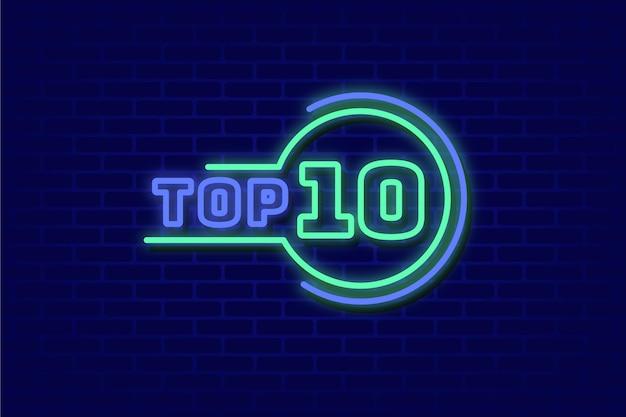 Neonlichten top 10 concept Gratis Vector