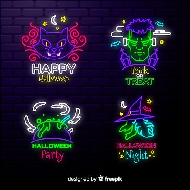 Neonlichttekens voor halloween-feestjes Gratis Vector