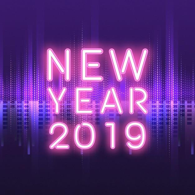Neonreclame nieuwjaar 2019 Gratis Vector