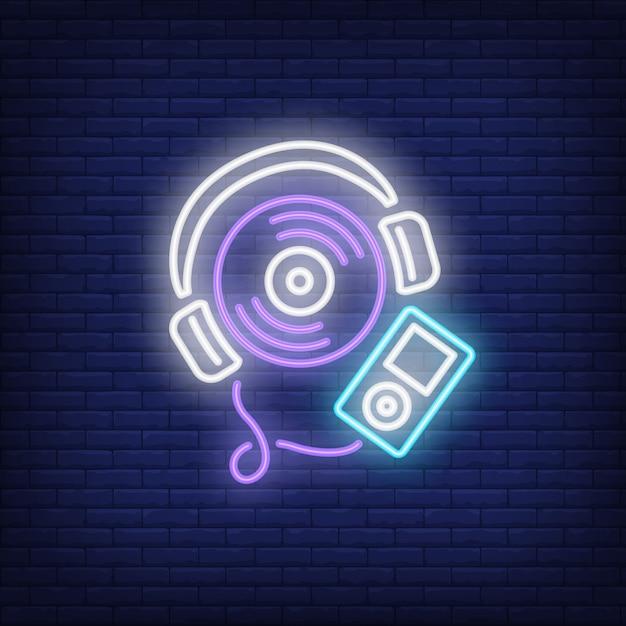 Neonreclame voor muziekspeler Gratis Vector