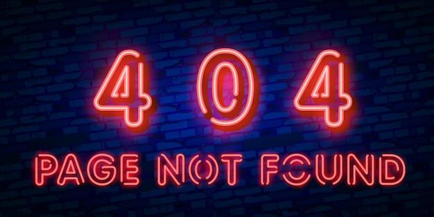 Neonteken van 404-foutpagina Premium Vector
