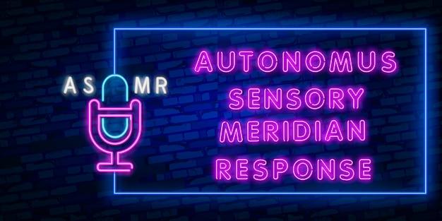 Neonteken van asmr-kader voor maleeldecoratie en het behandelen op de muur Premium Vector