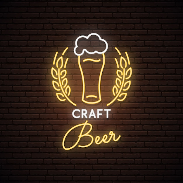 Neonteken van craft beer. Premium Vector