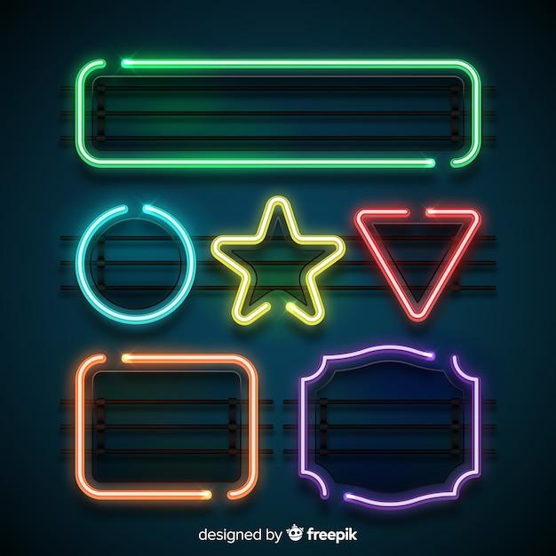 Neonvormen instellen Gratis Vector