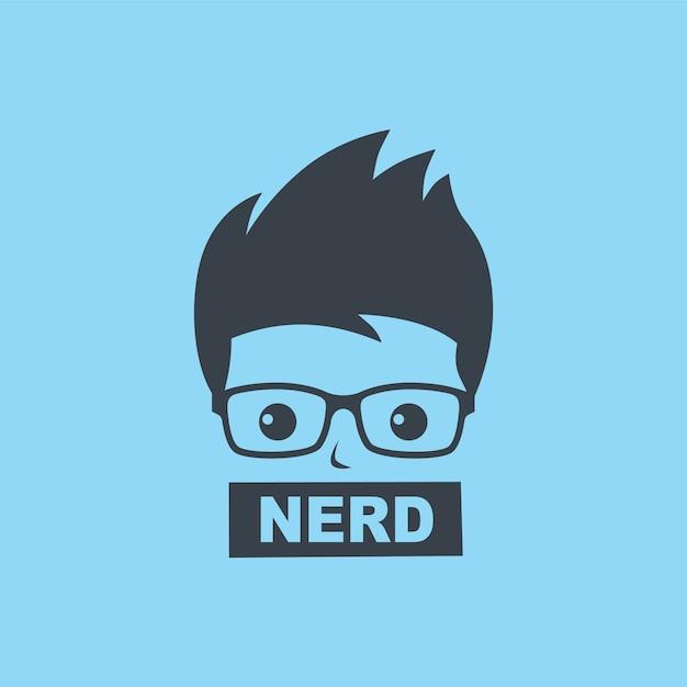 Nerd geek man cartoon karakter teken logo vector Premium Vector
