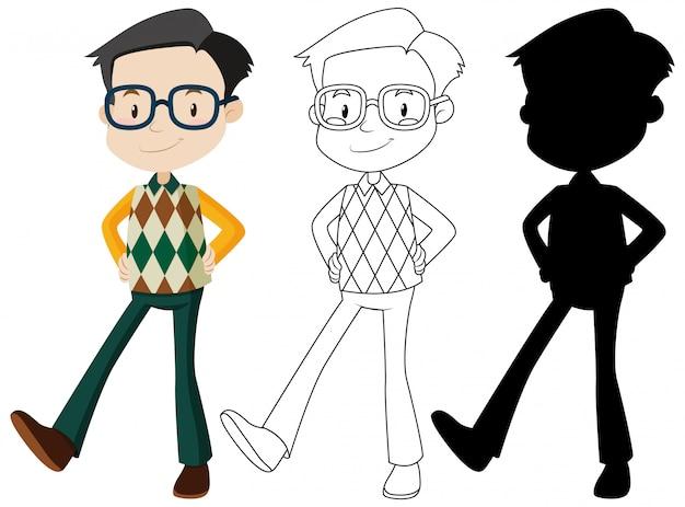 Nerdy man cartoon tekenset Gratis Vector