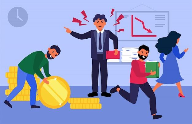 Nerveuze baas die tegen werknemers schreeuwt Gratis Vector