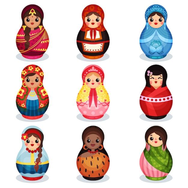 Nesting dolls set, houten matryoshka in kleurrijke kostuums van verschillende landen illustratie op een witte achtergrond Premium Vector