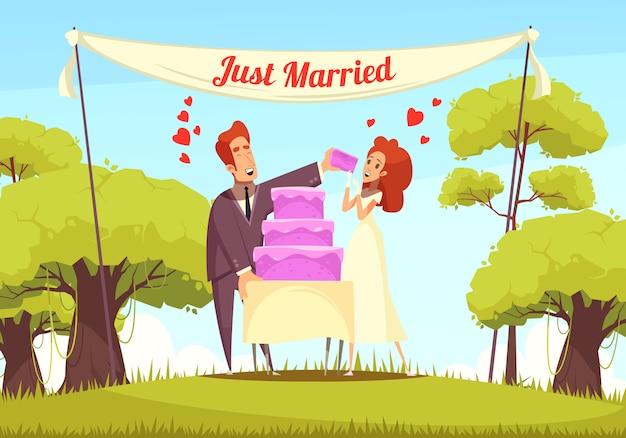 Net getrouwd cartoon afbeelding Gratis Vector