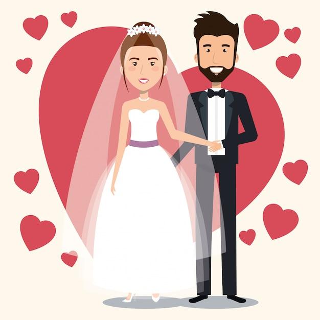 Net getrouwd stel met harten avatars tekens Gratis Vector