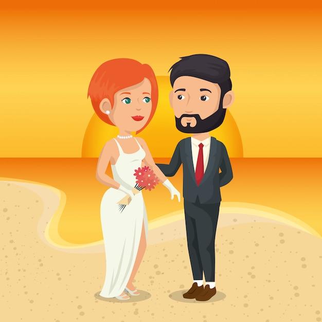Net getrouwd stel op het strand Gratis Vector