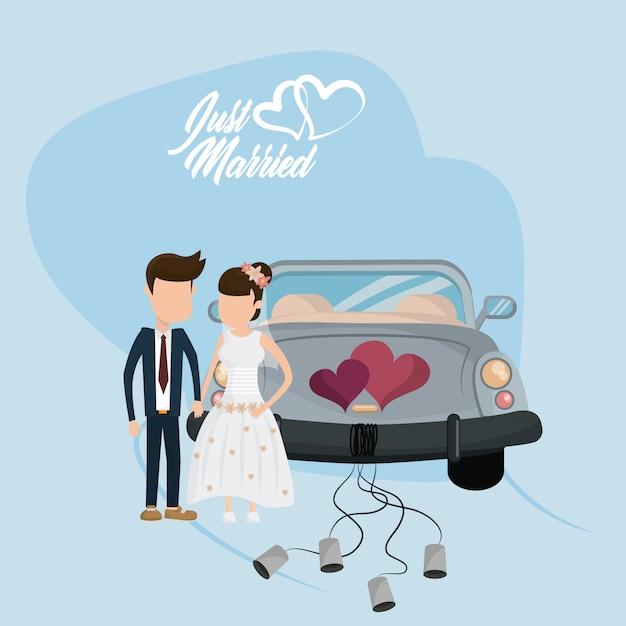 Net getrouwd trouwkaart Premium Vector