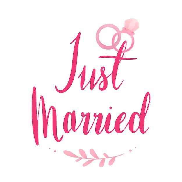 Net getrouwd typografie vector in roze Gratis Vector
