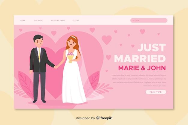 Net getrouwde trouwlandingspagina Gratis Vector