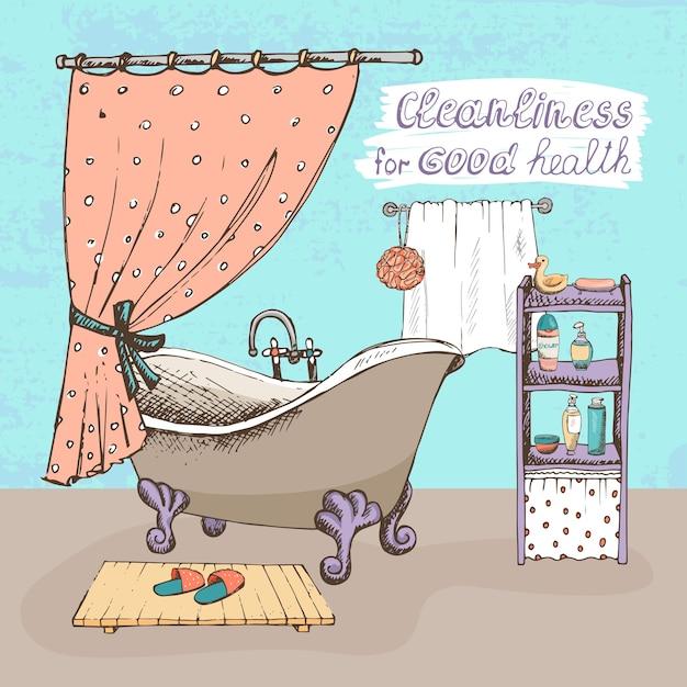Netheid voor een goede gezondheid concept met een badkamerinterieur met een vintage bal en klauwbad Gratis Vector
