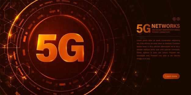 Netwerk 5g concept. snelle internetverbinding Premium Vector
