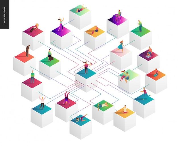 Netwerk concept vectorillustratie Premium Vector