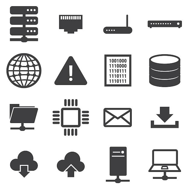 Netwerk en server icon set Premium Vector