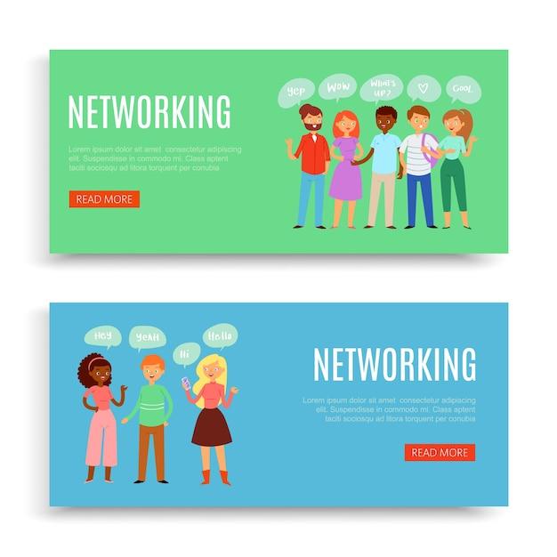 Netwerk, inscriptie, web, internettechnologie, interfacemalplaatje, marketingconcept, illustratie. achtergrondinformatie, website-indeling, e-commerce bankieren Premium Vector