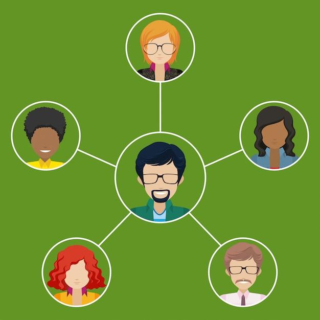 Netwerk van zakenmensen Gratis Vector