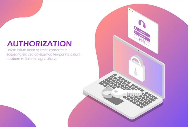 Netwerkautorisatie, identificatiesysteem. Premium Vector