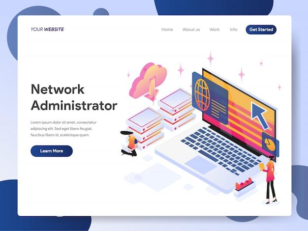 Netwerkbeheerder banner van bestemmingspagina Premium Vector