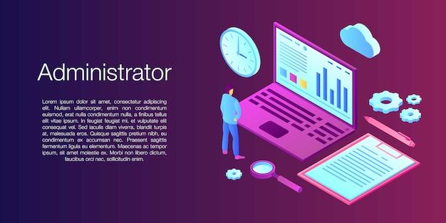 Netwerkbeheerder concept banner, isometrische stijl Premium Vector