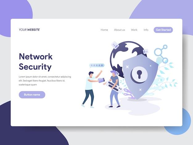 Netwerkbeveiligingsillustratie voor webpagina's Premium Vector