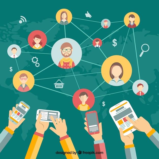 Netwerken het concept Gratis Vector