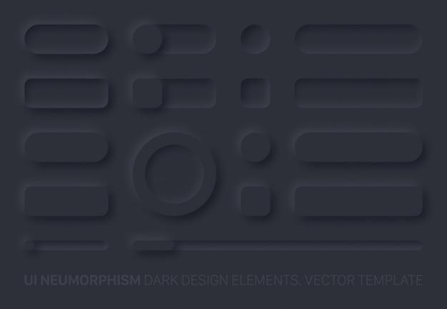 Neumorfe ui-ontwerpelementen instellen donkere versie. ui-componenten en vormen knoppen, balken, schakelaars, schuifregelaars in eenvoudige elegante trendy neomorfische stijl voor apps, websites, interfaces Premium Vector