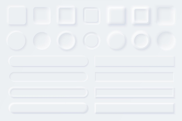 Neumorfe ui ux witte gebruikersinterface-elementen. schuifregelaars voor websites, mobiel menu, navigatie en apps. witte webknoppen en ui-schuifregelaars. neumorfisme stijl Premium Vector
