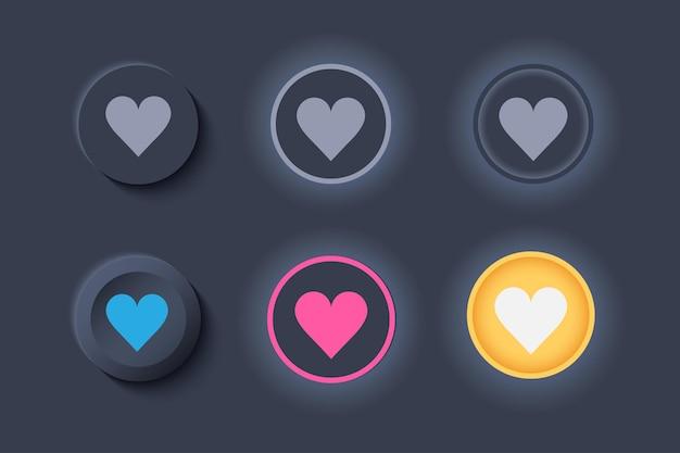 Neumorph ui zoals knoppen donkere set. knoppen met hart voor favorieten en likes. Premium Vector