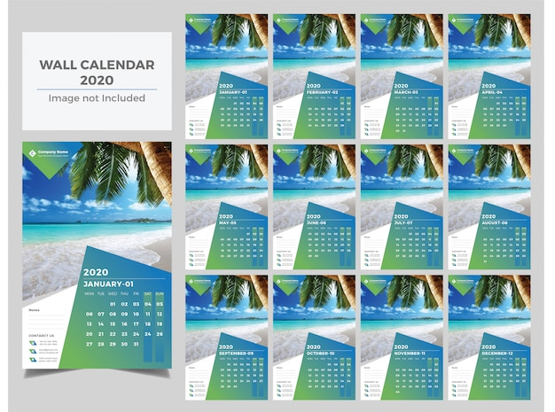 New year gradient wall calendar 2020 Premium Vector