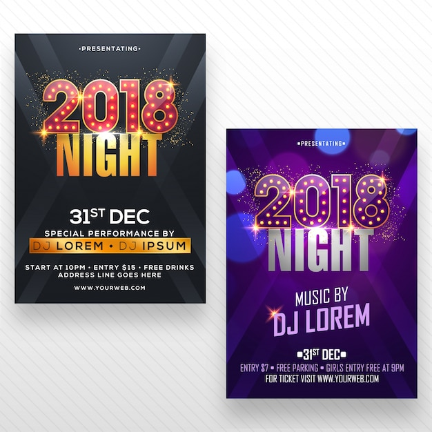 New year party flyer, banner of poster design in twee kleurenopties. Premium Vector