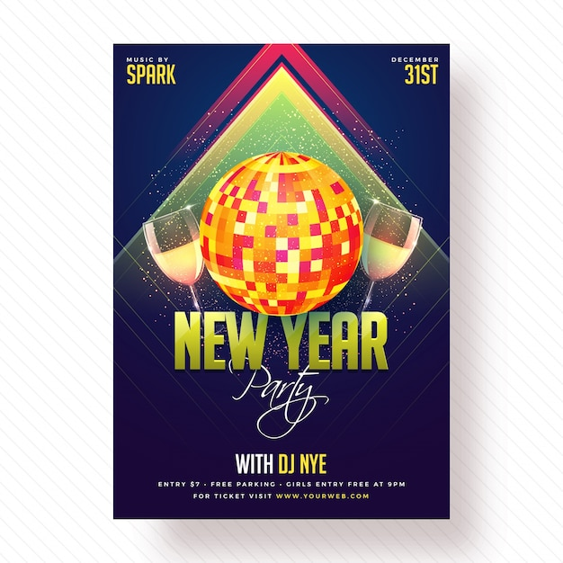 New year party poster, banner of flyer design. Premium Vector