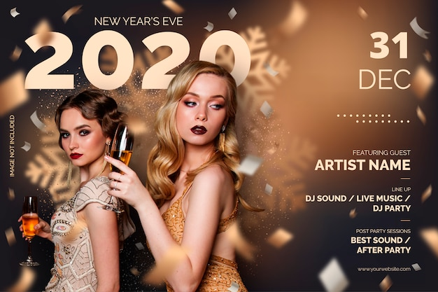 New year's eve party poster sjabloon Gratis Vector