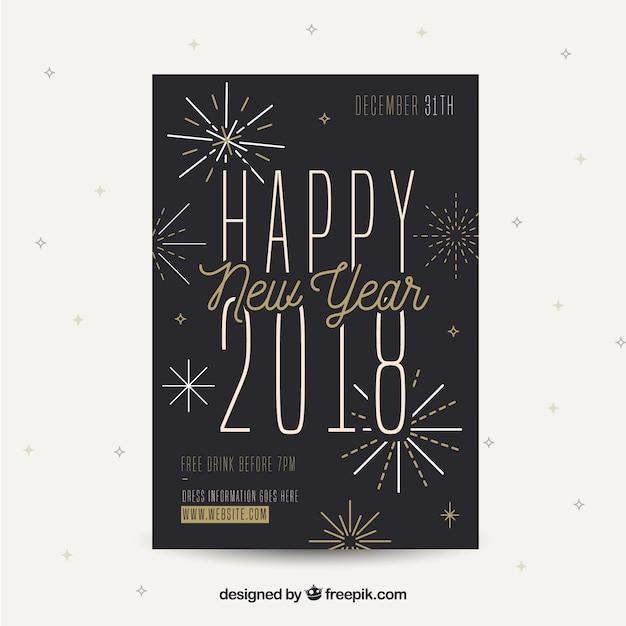 New year's party flyer in zwart met gouden elementen Gratis Vector