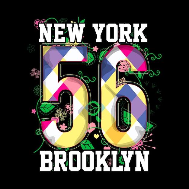 New york brooklyn t-shirt grafische vector kunst Premium Vector