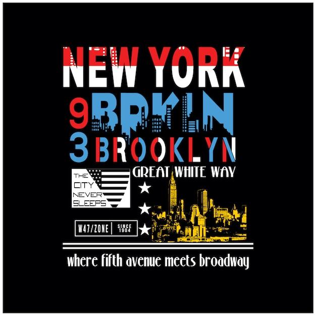 New york brooklyn voor t-shirt grafische vector Premium Vector