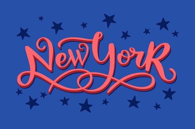 New york city belettering op blauwe achtergrond Gratis Vector