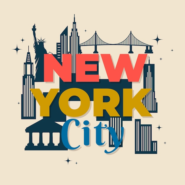 New york city belettering Gratis Vector